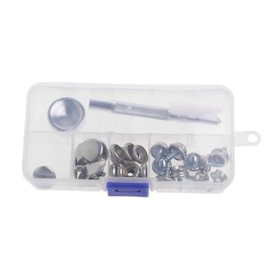 32 Pcs Stainless Steel Boat Marine Canvas Snap Fabric Cover Button Socket Kit