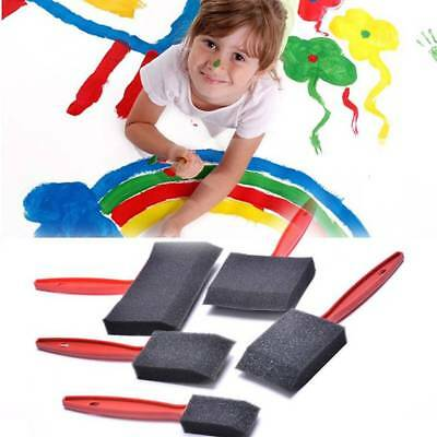 5pcs/set Black Foam Brush Sponge Plastic Handle Art Craft Painting Kid Painting