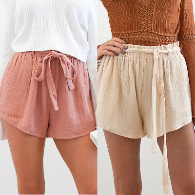 AU Women Holiday Lace Up High Waist Paper Bag Wide Leg Beach OL Hot Pants Shorts