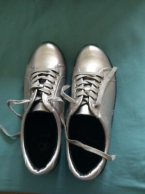 Gorgeous Comfy K Clarks Etna Musk Leather Pewter Trainers Size 6