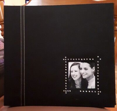 SCRAPBOOK ALBUM DELUXE PHOTO FABRIC BLACK COVER 30 X 30cm  POST BOUND AS NEW