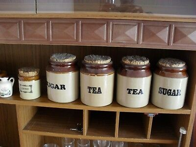 Earthenware Storage Jars - four large and one small. No damage