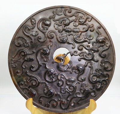 "9.8"" Chinese Oriental culture hand carved jade round Chi dragon disc Bi D535"