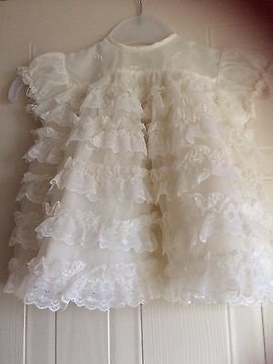 "Totnet,Vintage baby white nylon dress,short sleeves,5 rows frilled lace,14"",L13"""