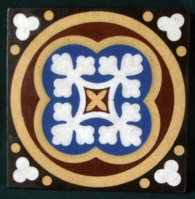 "Original Glazed Colourful Gothic Victorian Encaustic 4""x4"" Tile. Marked W Godwin"