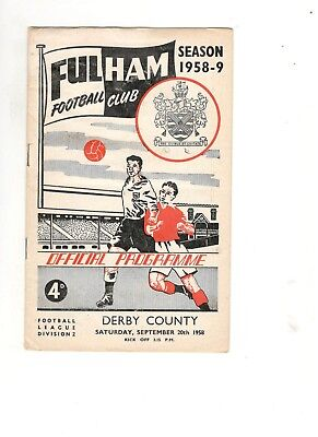 60th birthday present : Fulham v Derby County dated 20 September 1958