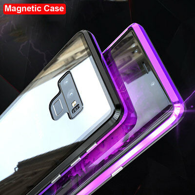 Luxury Magnetic Metal Case for SAMSUNG GALAXY Note 9/S8 S9 Plus Glass Cover+Film