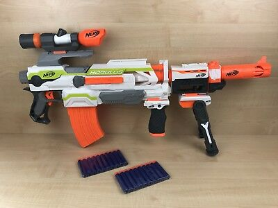 Nerf N-Strike Modulus ECS 10 Blaster Gun + 5 Attachments, 2 x Mags + New Ammo