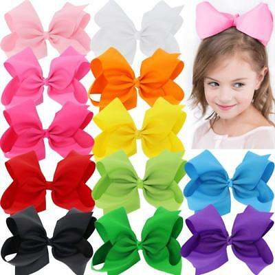 BIG Hair Bows 8 in For Girls Grosgrain Boutique Hair Bow Clips For Teens Kids To