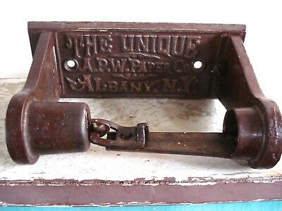Antique 19th c Albany NY TOILET PAPER Roll HOLDER APW Paper Co BathroomHardware