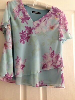 jacques vert pale blue fully lined blouse size 16