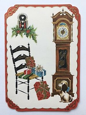 Unused Vintage Christmas Card Puppy Dog Clock Gold Present Chair Bow Candle Nos