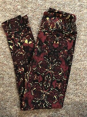 Lularoe OS Leggings Butterfly Butterflies And Roses Black Red Green