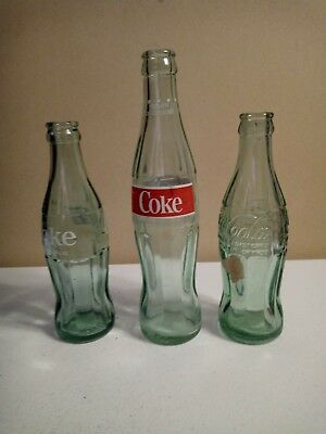 Vintage Glass Coca Cola Bottles Lot Of 3