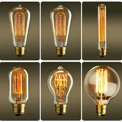 Retro Edison E27 40W Filament Light Bulb ST64 Globe Lamp Vintage Bright NEW