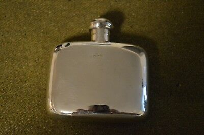 English solid Sterling Silver Antique Hip whiskey Flask hallmarked 4oz Victorian