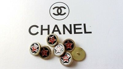 Chanel buttons-set x 7 (19mm) red black with CC logo pre-owned