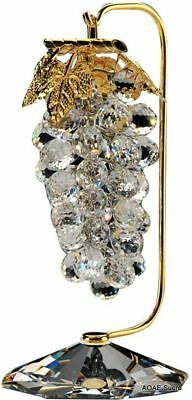 Handcrafted Large Grapes Bunch Gold plated Transparent original Crystal Asfour