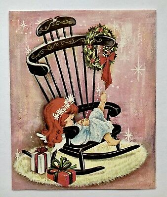 Unused Vintage Christmas Card Pretty Angel Girl Glitter Dress Rocking Chair Pink