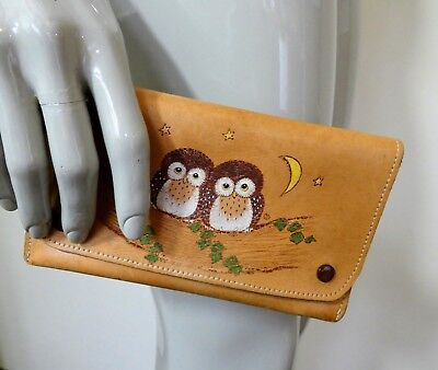 """Vintage Tooled Leather Purse, """"Two Owls Sitting In A Tree"""" Wallet"""