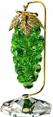 Handcrafted Large Grapes Bunch Gold plated green decor original Crystal Asfour