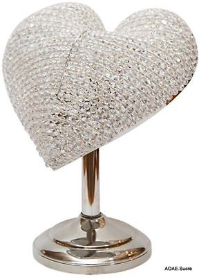Handcrafted Bead Table Lamp Silver large Decor original beautiful Crystal Asfour