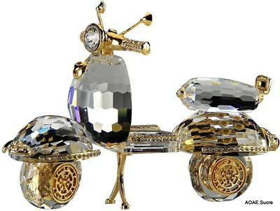 Handcrafted Scooter original Decor Transparent Gold beautiful Crystal Asfour