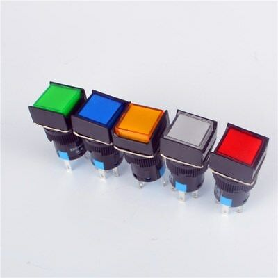 US 16mm Square Momentary Push Button Switch Self-Reset LED Light 5 Pins 12V