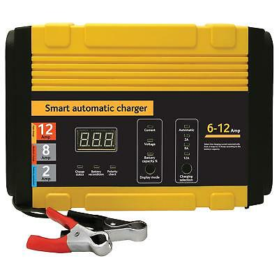 Car Battery Charger Heavy Duty Portable Starter 12 Amp Multi Stage Charge NEW