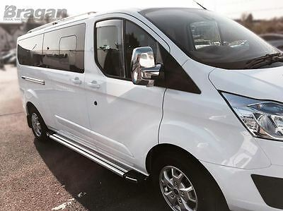 To Fit 2013+ Ford Transit Tourneo Custom ABS Shiney Chrome Mirror Covers Set Van