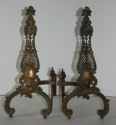 Large Pair of Cast Brass Fireplace Andirons Beaux-Arts Baroque Rococo Patina