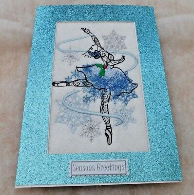 Christmas card handmade machine embroidered Snow Queen ballerina