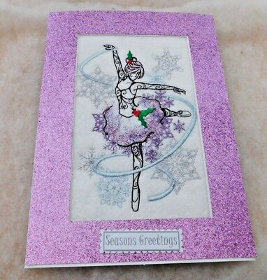Christmas card handmade machine embroidered Sugar Plum Fairy