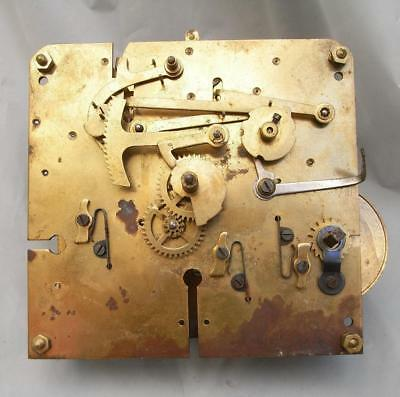 Vintage Unbranded Brass Mechanical Clock Movement For Spares (Parts)