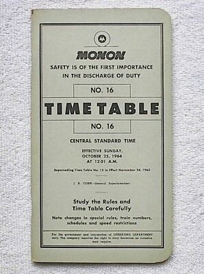 MON - Monon Railroad Company Timetable #16 October 25, 1964