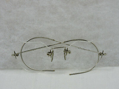 Vintage Wire Rim Eyeglasses Silver Tone Flex Jointed Flexible Round Spectacles