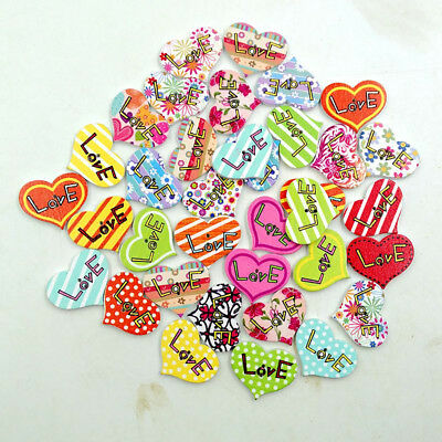 LX_ LK_ 50 Pcs Colorful Heart Shape Wooden Button DIY Sewing Scrapbooking Acce