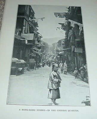 1897 Antique Print A HONG KONG STREET IN THE CHINESE QUARTER China