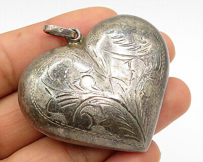 925 Silver - Vintage Puffy Hand Chased Filigree Love Heart Pendant - P2826