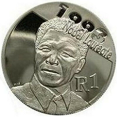 """2007 South Africa 1 Rand Silver UNC Coin """"Nelson Mandela 93 Nobel Peace Prize"""""""