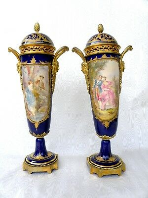 SEVRES  ANTIQUE 19th RARE  PAIR VASES GORGEOUS DECOR SIGNED BY ARTIST