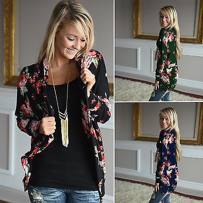 Womens Long Sleeve Floral Cardigan Coat Tops Casual Open Front Jacket Blouse US