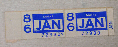 1986 Maine passenger car license plate sticker pair