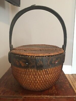 Vintage woven lidded Chinese basket/ painted handle