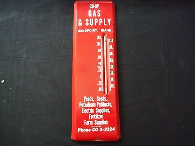 Vintage Sandpoint Idaho Id Red Thermometer C0-0P Gas + Farm  Supply Deco Design