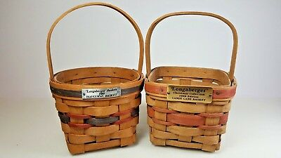 2 Vintage 1980s Longaberger Baskets 1986 Candy Cane & 1989 Inaugural (1st Yr)