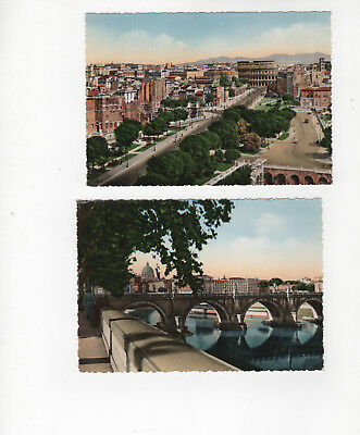 Vintage 1950s Color postcards of Rome (ROMA). Lot of 2 - unused. Imperial Forum