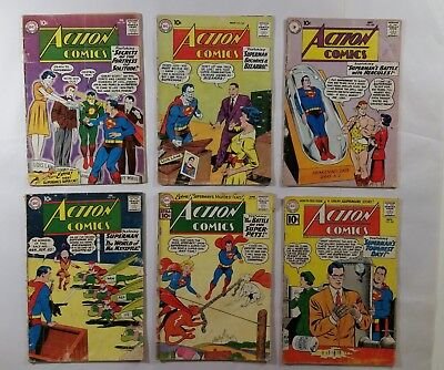 Lot of 6 Action Comics DC Superman #261, 264, 268, 273, 277 & 282 Low Grade
