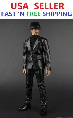 """1//6 Scale Male Black Leather Coat Suit Clothing Set For 12/"""" Body Hot Toys"""