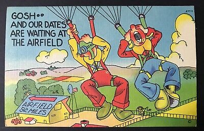 VINTAGE HUMOROUS POSTCARD UNADDRESSED OUR DATES ARE WAITING AT AIRFIELD.    wds